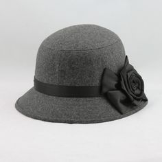 Fashion Elegant Women Ladies Fedora Cloche Flower Rose Bucket Hat Headwear Gray