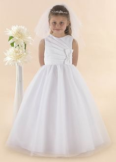 Full Length First Communion Dress TAYLOR - Linzi Jay - Sleeveless Satin Bodice Tulle Skirt - Communion Dress - Age 8 9 years - Girls Communion Dress