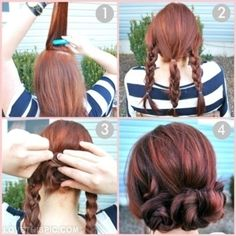 DIY pigtails to bun hair diy diy ideas do it yourself diy hair diy tips diy images do it yourself images diy photos diy hair diy fashion diy hair styles easy diy