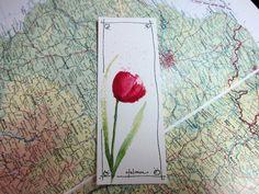 Spring Tulip Original Watercolor Bookmark. $4.00, via Etsy.
