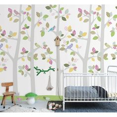 Vlies-Tapetenwandbild 'Bäume' grün/olive/hellgrau - 200x300cm