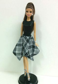 Faux Leather/ Black & White Checkered Dress (for Model Muse Barbies)