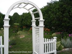 Classic white arched arbor
