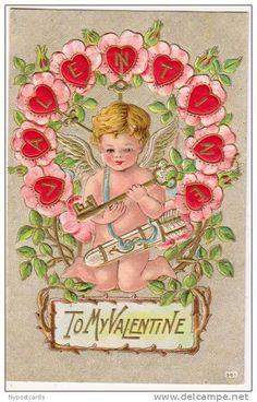 Vintage Valentine Card Cupid