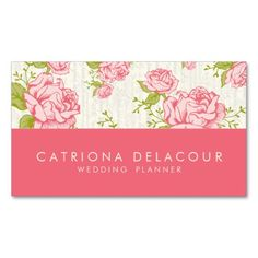 Vintage Pink Roses Elegant Business Card