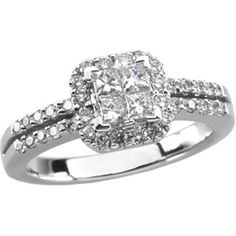 14K White Gold 3/4 CTTW Diamond Halo Engagement Ring  $1,390.00