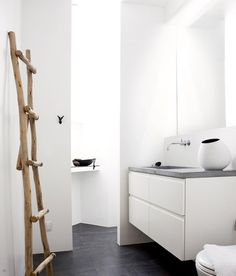 Small white bathroom.  Love the ladder