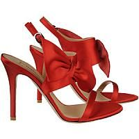 Red Satin Stiletto Slingbacks With Bow Deco