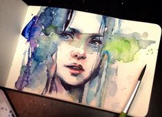 WATCH THE VIDEO   This is a Portrait I did for a friend    I used Watercolors and dr.ph. martin pen white :3 please watch the video >u<  PatreonSupport me to re...