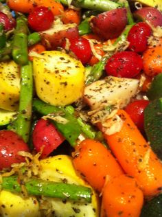 Ingredients: 1 bundle of asparagus 1 small bag of snow peas 2 medium to small yellow squash 1 zucchini 1 small bag of baby carrots 1 package of grape tomatoes (or cherry tomatoes) 1 small bag of baby red potatoes (a.k.a. red bliss or you can use fingerling potatoes) EVOO (extra virgin olive oil) 2 tablespoons Rosemary (If you are using fresh, then it would be 3 tablespoons) 2 1/2 tablespoons Basil (If you are using fresh, then it would be 1/3 cup basil) McCormick's steak seasoning's (pepper…