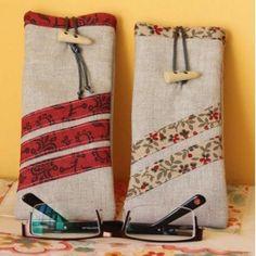 Granny Square Crochet Pattern, Crochet Patterns, Fabric Embellishment, Pen Case, Patch Quilt, Glasses Case, Pen Holders, Bag Making, Crafts To Make