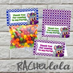 INSTANT DOWNLOAD Chuck E. Cheese favor bag/ goodie by Rachellola, $5.00
