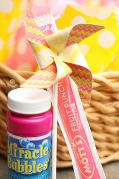 Adorable and cheap party favor idea! Pink Lemonade and Pinwheels 1st Birthday Party with REALLY CUTE Ideas via Kara's Party Ideas