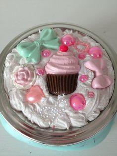 Kawaii Decoden Cupcake Mason Jar Original by ExactNature on Etsy, $16.00