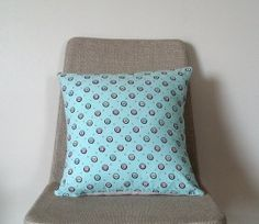 vintage blue white pink 16x16 pillow case// mid century by Thrival, $40.00