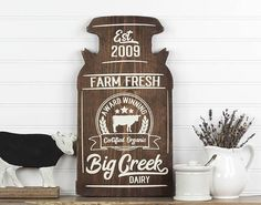 So Original! Love this Personalized Milk Can Shape Farmhouse Style Wood Cutout Sign! found it on Etsy. #rusticdecor #countrydecor #farmhousedecor #rusticfarmhouse #ad #bbmaff #milkcan #rusticcountryfarmhouse #FarmhouseInteriorDesignideas #RusticCountryFarmhouseDecorIdeas #loveit