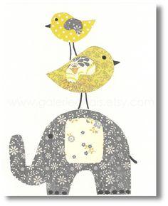 Illustration pour chambre d 39 enfant garcon fille elephant - Illustration chambre bebe ...