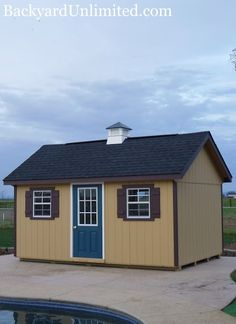 10'x16' Garden Shed with Custom Paint, Painted 9-Lite Fiberglass Door, Ridge Vent and Vinyl Cupola http://www.backyardunlimited.com/sheds/garden-sheds