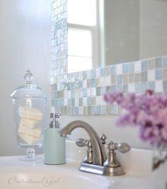Bathroom DIY – Make Your Own Gorgeous Tile Mirror. Maybe on a frame instead of the wall.