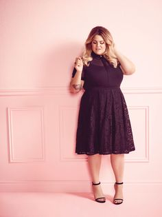 The Dannielle Dress in black from the Nicolette Mason for Addition Elle dress collection. Spring 2016 plus size fashion