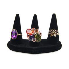 1 pcs Fashion Black Velvet 3 Pillars Ring Jewelry Display Tip Stand Holder Rack New