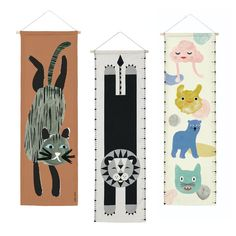 CANVAS WALL HANGING  100% Baumwoll-Canvas / Holzstab Öko-Tex 100 zertifiziert made in Germany Größe: - CAT wallhanging: 28 x 75 cm - LION / CREATURES growth charts: 26 x 87 cm Creatures, Kids Rugs, Chart, Inspiration, Canvas, Wood, How To Make, Home Decor, Sustainable Gifts