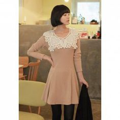 $8.93 Sweet Style Scoop Neck Lace Collar Embellished Long Sleeve Cotton Blend Dress For Women