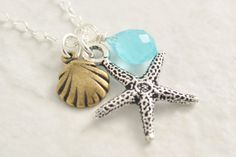 Starfish necklace  sea shell necklace beach necklace by MegusAttic, 29.00