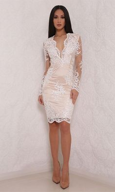 Uptown Swagger White Sheer Mesh Lace Long Sleeve Plunge V Neck Bodycon Midi Dress