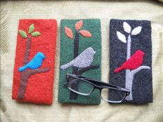 Silhouette Bird Felted Wool Eyeglass Case by notjustknots on Etsy, $10.00