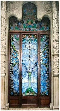 Beautiful!  Imagine the light coming through this door..... Breathtaking!  Peaceful blue.