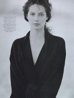 Christy Turlington by Peter Lindbergh for Harper's Bazaar US, May 1993
