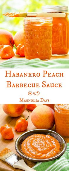 Habanero Peach Barbecue Sauce | Magnolia Days Hot Sauce Recipes, Barbecue Sauce Recipes, Grilling Recipes, Vegetarian Grilling, Bbq Sauces, Healthy Grilling, Vegetarian Food, Veggie Food, Salsa Picante