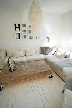 beachy - paint the floor boards white?