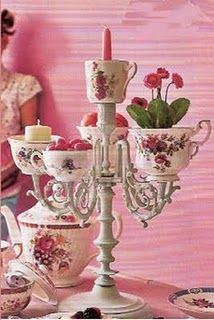 Tea cup candelabra ~ I don't even think this would be that difficult to make!