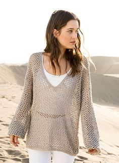 # 25 Netzpulli - free crochet mesh pullover pattern by Lana Grossa. In German and English.