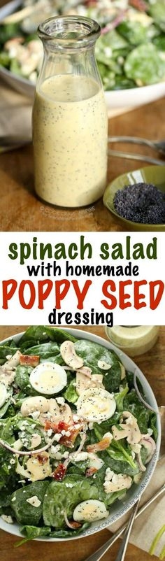 This Classic Spinach Salad recipe is topped with bacon red onion fresh mushrooms and boiled eggs. An easy homemade poppy seed dressing this is the perfect complement. This makes a delicious side or is great with grilled chicken for a complete meal.