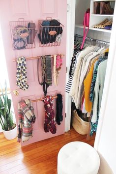 If you live in a small apartment, you've likely complained once (or twice) about the lack of closet space. But there's a big, blank three-by-seven-foot space you're likely overlooking: the back of the door. By adding hooks, installing pegboards and securi Organisation Hacks, Closet Organization, Shoe Organizer, Handbag Organization, Organizing Small Closets, Small Bedroom Organization, Organizing Ideas, Deep Closet, Tiny Closet