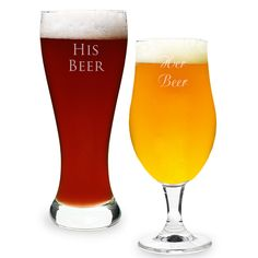 What a cute personalized his and her pilsner set.