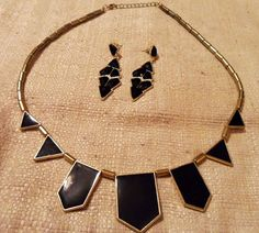 Black and Gold Geometric Necklace + Earrings Set - N.V. Jewelry