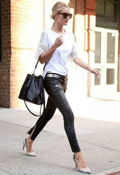 6/9 #ロージー・ハンティントン=ホワイトリー #レーストップス #レザーパンツ |海外セレブ最新画像・私服ファッション・着用ブランドまとめてチェック DailyCelebrityDiary*