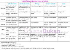 dieta dukan - fase ataque - sugestão de cardápio (7 dias)