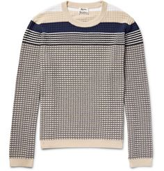 ACNE STUDIOS Koos Striped Waffle-Knit Cotton-Blend Sweater. #acnestudios #cloth #knitwear