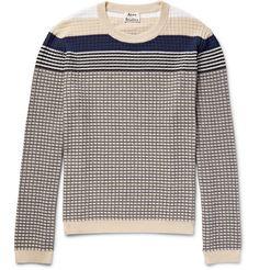ACNE STUDIOS Koos Striped Waffle-Knit Cotton-Blend Sweater. #acnestudios #cloth #knitwear