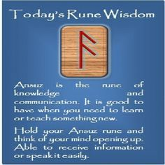 Ansuz - a rune for wisdom, knowledge and communication Wicca Runes, Norse Runes, Elder Futhark Runes, Viking Runes, Norse Mythology, Rune Divination, Celtic Runes, Norse Pagan, Rune Symbols And Meanings