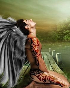 male angel with tattoos Angel Man, Angel And Devil, Angel Wings, Angels Among Us, Angels And Demons, Fantasy Male, Fantasy World, Male Angels, Ange Demon