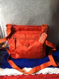 Handbag Coach Getaway Red Nylon Signature Shoulder Bag Purse Zip Crossbody #Doris_Daily_Deals #Bonanza http://www.bonanza.com/listings/487476780