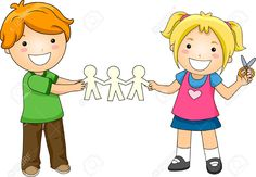 Illustration Of Kids Playing With Paper Dolls Stock Photo, Picture ...