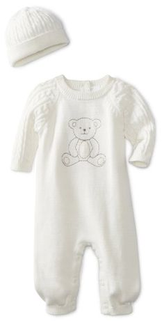 Amazon.com: Little Me Baby-Boys Newborn Bear Sweater Coverall And Hat: Clothing