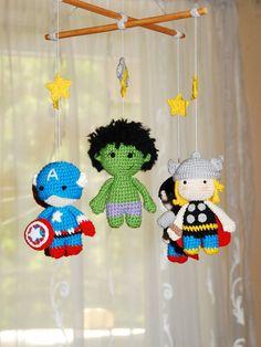 Baby mobile Superhero for boy Crochet baby crib mobile Super